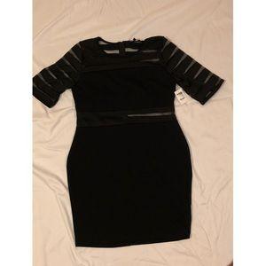 Mesh Detail Black Bodycon Dress